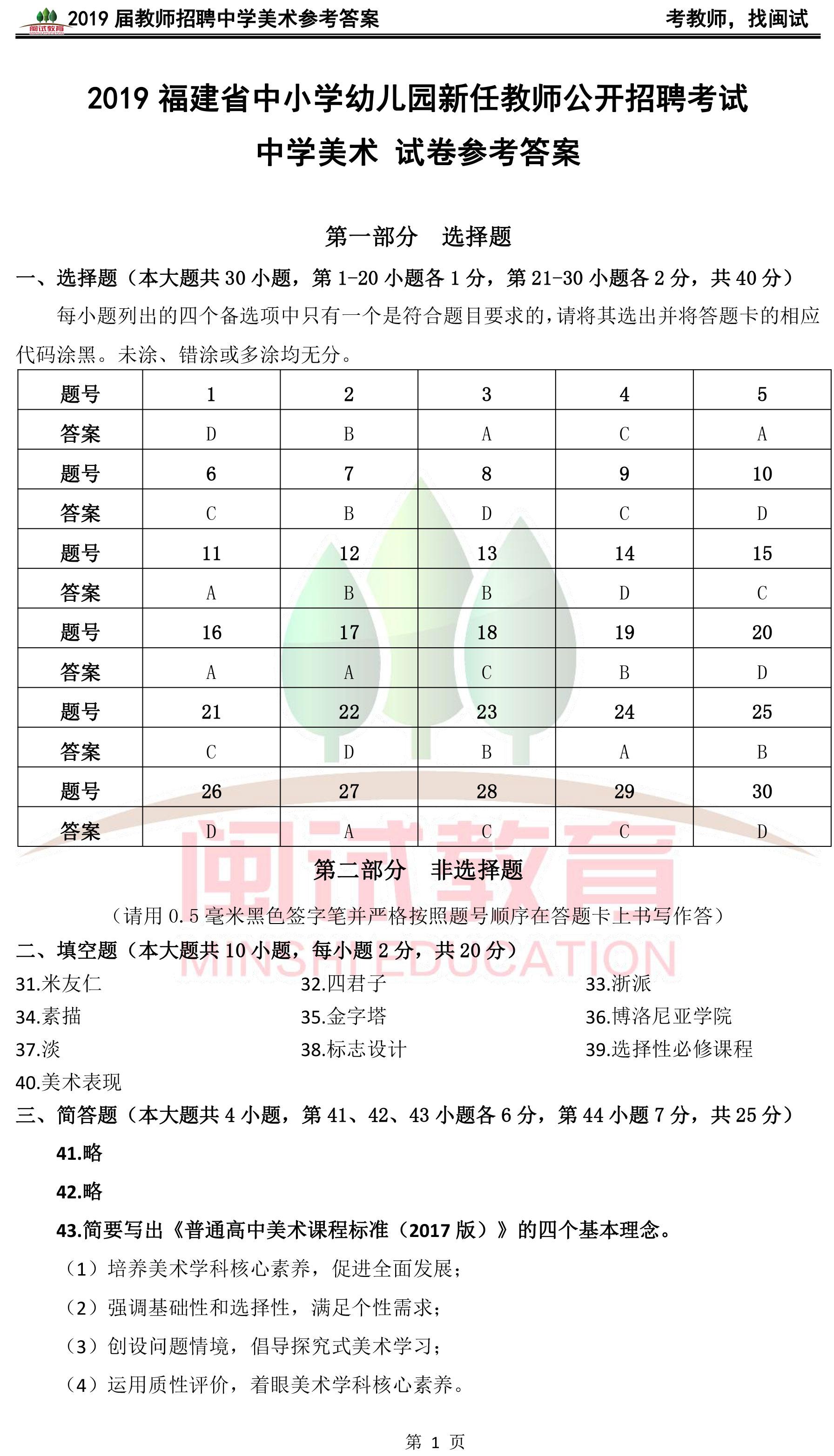 2019年福建教师招聘考试中学美术真题参考答案